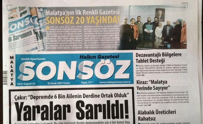 Sonsöz Gazetesi 20'inci yaşını kutluyor