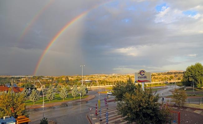 Malatya'da yağmurdan çifte gökkuşağı
