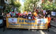 Malatya'da 2-8 Kasım Lösemili Çocuklar Haftasında maskeli yürüyüş
